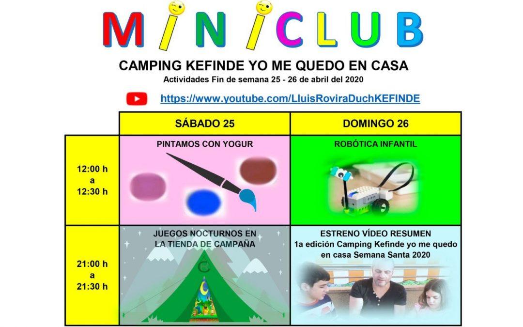 Activitats 25 i 26 d'abril Camping Kefinde Ens Quedem a Casa